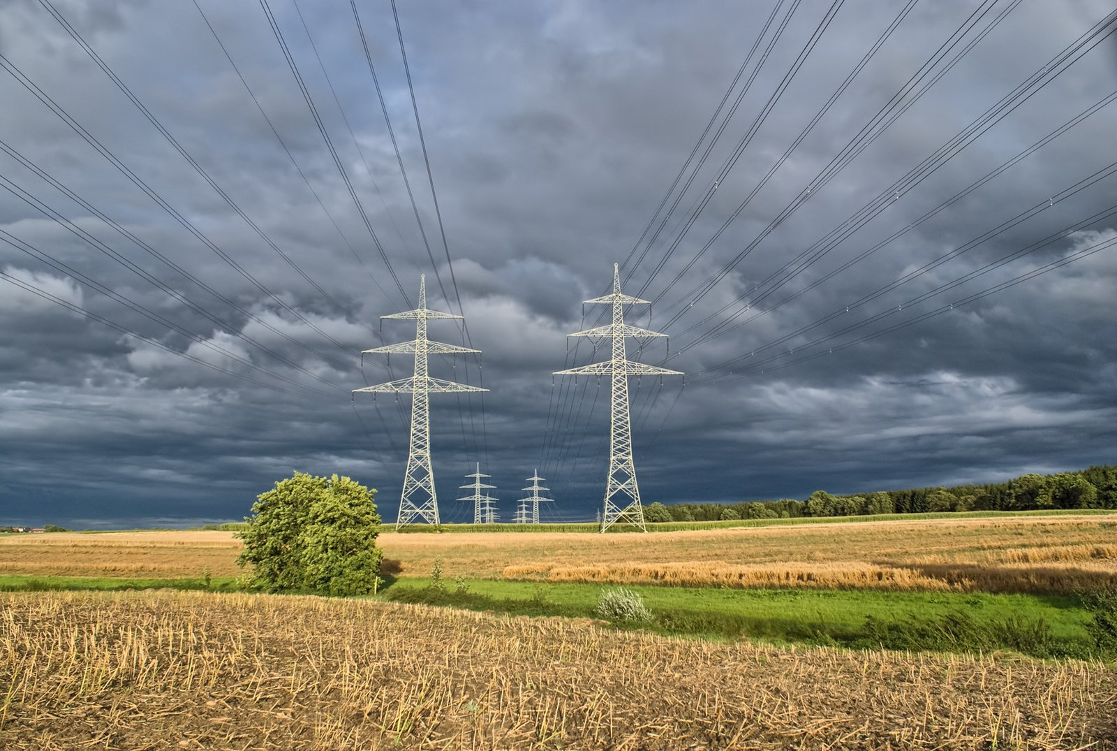Power Lines in rural Landscape, upcoming Thunderstorm